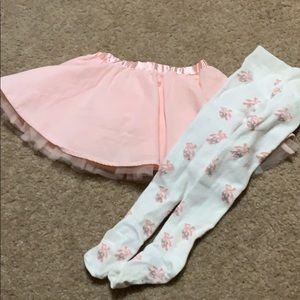 Gymboree tutu skirt w/matching ballerina tights 2T